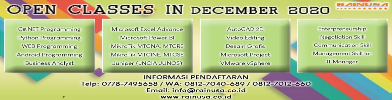Berikut agenda training yang akan berjalan pada bulan December 2020.